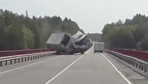 Watch Russian Rig Nearly Flip Off Bridge!!!