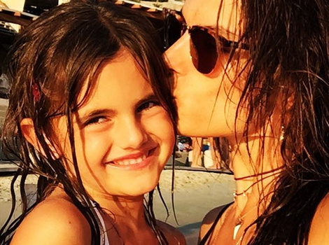 Alessandra Ambrosio and Daughter Anja Sport Matching Bikinis
