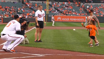 Little Girl With Robotic Hand ... Throws First Pitch At Baltimore Orioles Game (VIDEO)