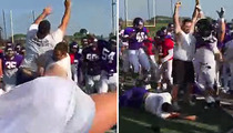 Holy Cross Football -- WWE Practice ... Coaches Act Out SummerSlam (VIDEO)