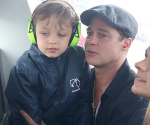Brad Pitt Takes Lookalike Son Knox to the Race Track -- He's So Big Now!