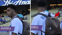 D'Angelo Russell -- Rocks $2K Louis V Backpack ... For Dodgers 1st Pitch