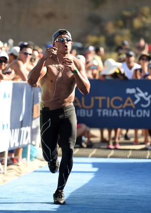 Victor Ortiz -- Shadow Boxing Through Finish Line at Malibu Triathlon