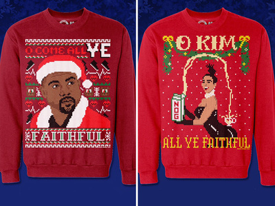 Kim Kardashian, Kanye West -- When It Comes To Ugly Xmas Sweaters ... Kanye Is King