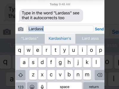 iPhone Autocorrect -- Lardass = Kardashian