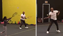 Mike Tyson -- Crushing Tennis Swing ... But My Daughter's Better!