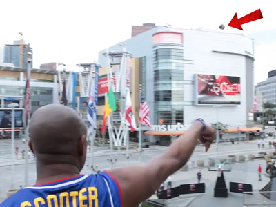 Harlem Globetrotters -- Insane Shots ... From Staples Center Roof!!!!