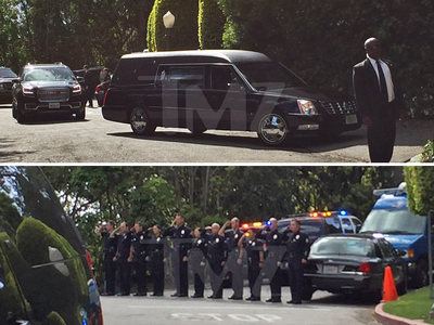 Nancy Reagan -- Hearse Leaves Home ... Cops Salute