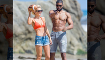 NFL's Kerry Rhodes -- Ballin' On the Beach ... With Hot Fiancee