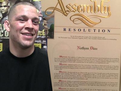 Nate Diaz -- Gets State Assembly Award ... For 'Upset' Over McGregor