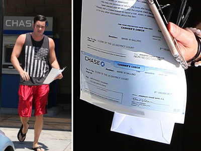 Mark Salling -- $100k Check Likely Keeps Him Free in Child Porn Case (PHOTO)