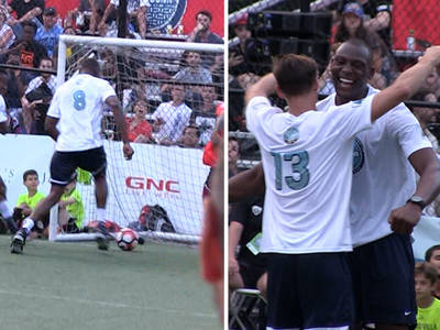 NBA's Bismack Biyombo -- Dominates Charity Soccer Game ... 4 Goals!!! (VIDEO)
