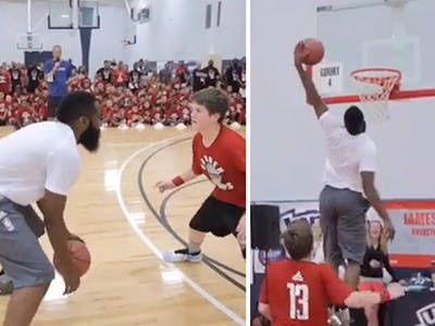James Harden -- Destroys Kid At Basketball ... With Awesome Houdini Move (VIDEO)