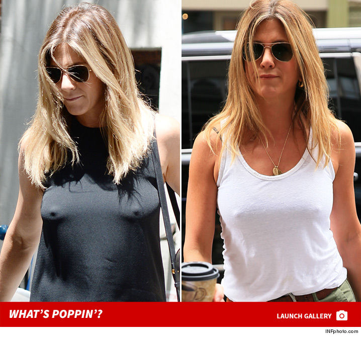 Jennifer aniston is a braless wonder for Nipple piercing through shirt