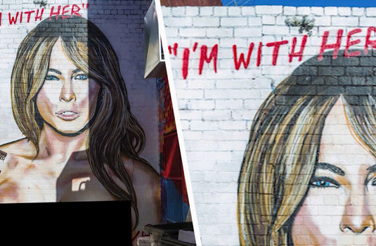 Melania trump topless mural celebrity videos for Celebrity mural