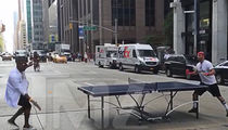 Usher -- Ping-Pong Master on 6th Ave (VIDEO + PHOTOS)