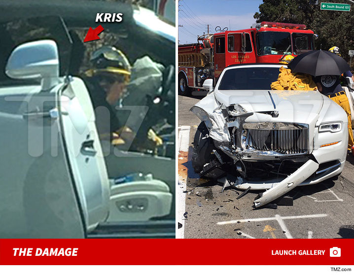 kris jenner was just involved in a car wreck off the 101 freeway near her home and were told the impact was bad enough that she may have broken her wrist