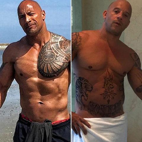 It's a racy rather ... The Rock (44) vs. Vin Diesel (49)