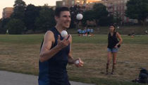 Beer Mile Racer -- Busted for JWI ... Juggling While Intoxicated (VIDEO)