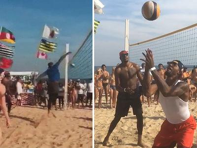 Team USA Basketball -- Attempts Beach Volleyball ... Fails. (VIDEO)