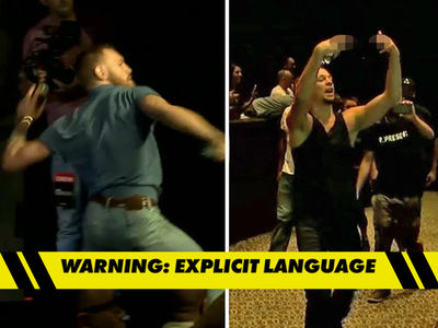 Conor McGregor -- Fires Water Bottles at Nate Diaz ... Threatens 'Crackhead Eses' (VIDEOS)