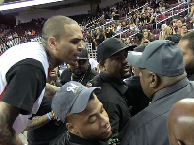 Chris Brown -- Goes Off On Fan During Basketball Game ... Cops Step In (VIDEO)