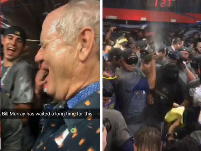 Bill Murray -- Champagne Raging with Cubs ... After World Series Victory (VIDEOS)