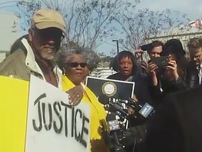 Joe McKnight -- NAACP Protesting Outside Sheriffs Dept. ... 'Demanding Answers' (PHOTO)