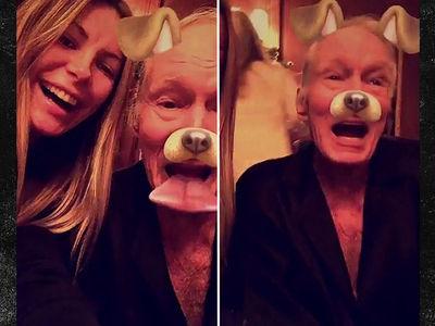 Hugh Hefner Proves He's Alive With Snapchat Dog Filter (VIDEO)