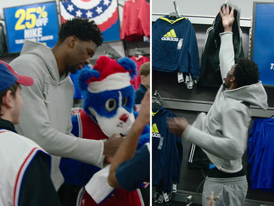 NBA's Joel Embiid Plays 7 Foot Santa And Hooks Up Philly Kids With Shopping Spree
