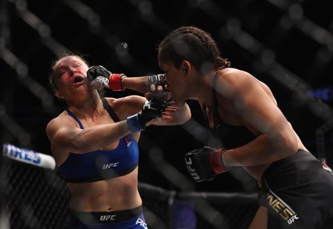 <span>Amanda Nunes vs. Ronda Rousey in their UFC women's bantamweight championship bout during the UFC 207 event on December 30, 2016 in Las Vegas, Nevada. </span>