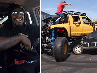 Marshawn Lynch Ghostrides Monster Truck ... Smashes Puny Jeep (VIDEO)