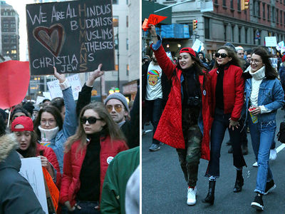 Bella and Gigi Hadid Join Anti-Trump Immigration Rally