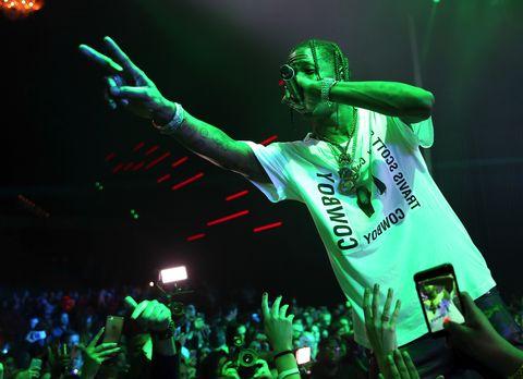 Travis Scott performing at the Maxim Super Bowl Party