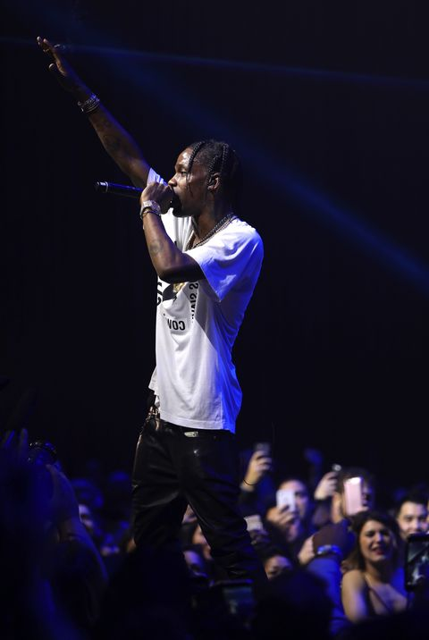 Travis Scott performing at the Maxim Super Bowl Party