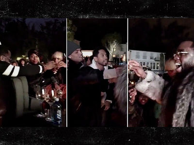 Diddy & Chris Brown -- Shots Fired at Super Bowl Party (TEQUILA SHOTS!) (VIDEO)