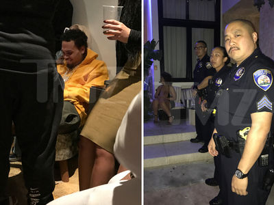 Chris Brown Ditches Migos Pre-GRAMMY Party As Cops Show (PHOTOS + VIDEO)