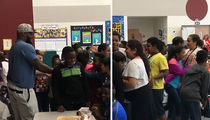 UFC's Derrick Lewis Swarmed at Middle School Lunch (ADORABLE VIDEO)