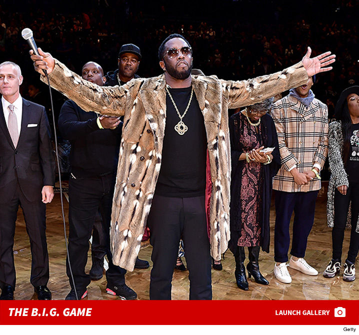 Biggie Smalls Honored At Brooklyn Nets Game ... Diddy Holds Court ...