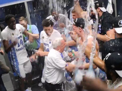 UNC's Roy Williams LOCKER ROOM TURN UP ... After Beating Gonzaga (VIDEO)