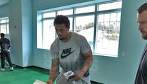 Greg Hardy Reports to Camp for Spring League Football (PHOTOS)