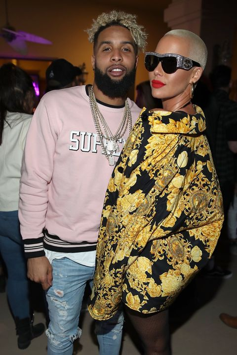 Odell Beckham Jr. and Amber Rose attends the Midnight Garden After Dark at the NYLON Estate on April 14, 2017 in Bermuda Dunes, California.