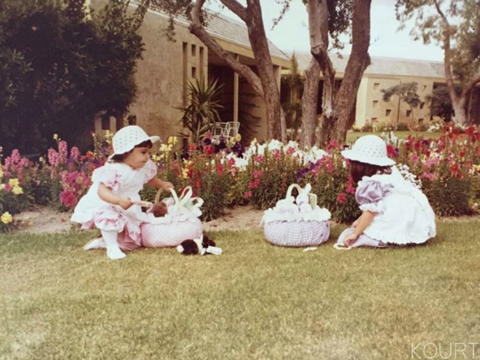 Kourtney Kardashian shared some old school pics of her and her sisters on Easters past