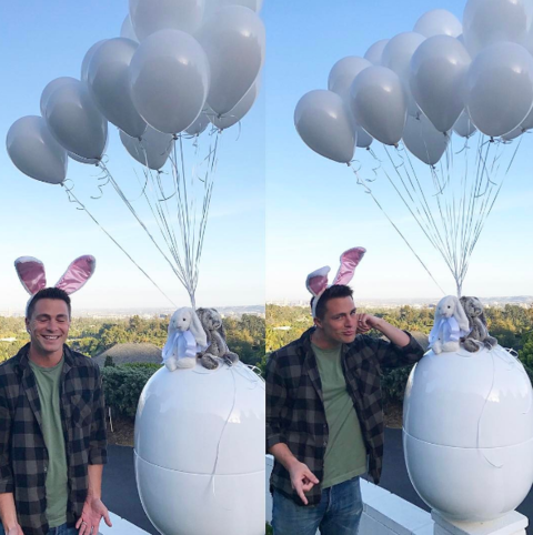 Colton posted these cute bunny ear pics with his Easter surprise.