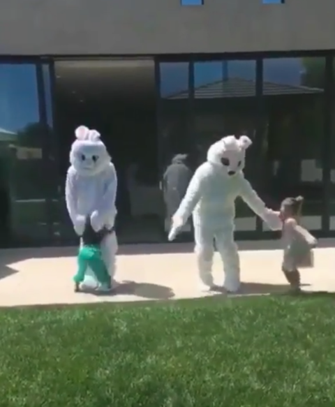 North and Penelope got surprised on Easter with a couple of Bunnies. Allegedly Kanye and John Legend might be behind those masks.