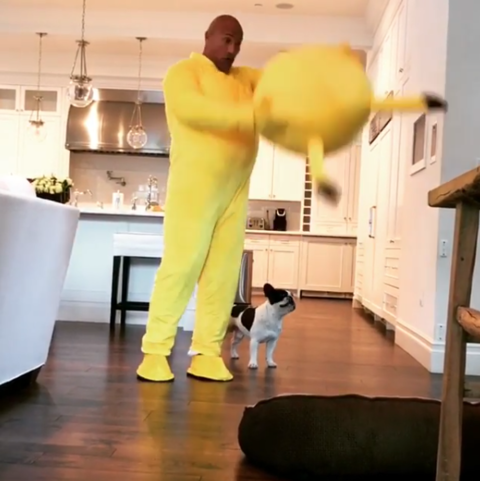 The Rock dressed up as Pikachu for his kid on Easter morning