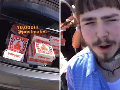 Post Malone Orders $8,000 Worth of Popeyes for Coachella Party (VIDEO)