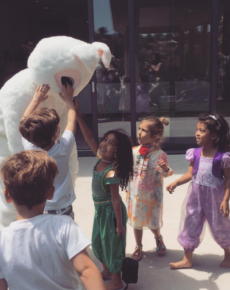 Kim Kardashian had a fun time at her house with the kids.