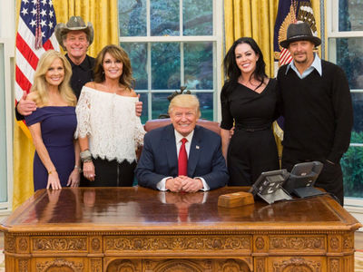 Donald Trump Invites Kid Rock, Ted Nugent and Sarah Palin to Oval Office (PHOTOS)