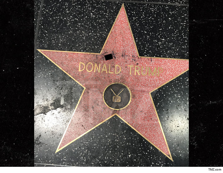 Donald Trumpu0027s Star On The Hollywood Walk Of Fame Was Vandalized Again,  Only This Time With A Magic Marker ... Instead Of A Pick Ax.